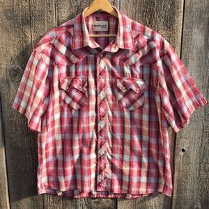 Rustler by Wrangler Short Sleeve Plaid Pearl Snap